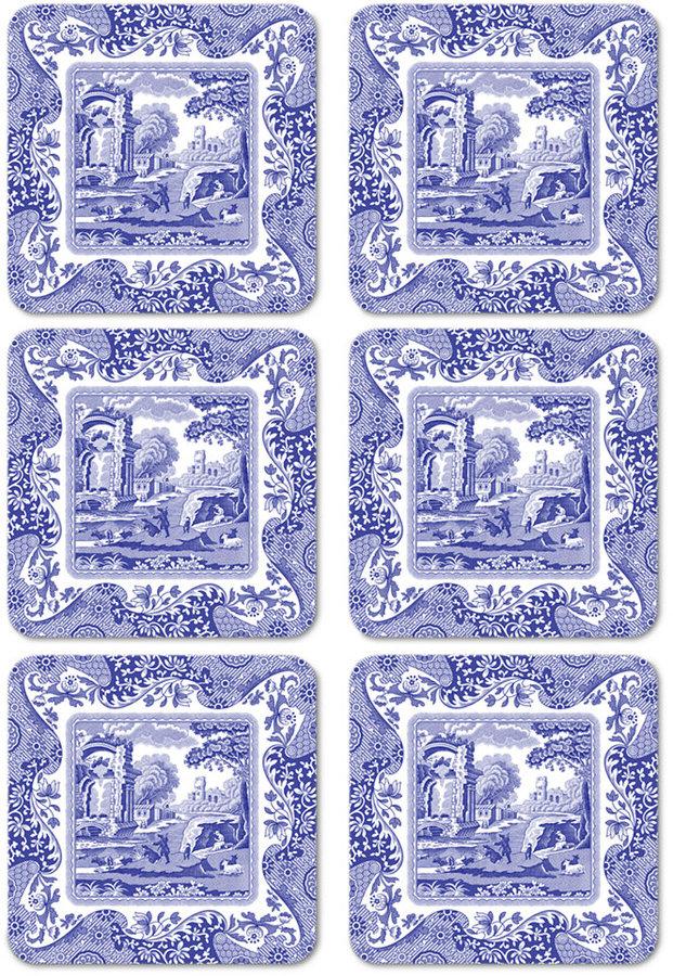 Spode Coasters, Set of 6 Blue Italian