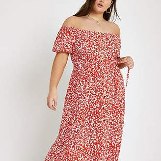River Island Plus red print bardot maxi dress