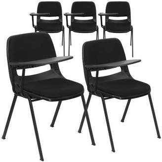 Flash Furniture 5 Pk. Black Padded Ergonomic Shell Chair with Right Handed Flip-Up Tablet Arm