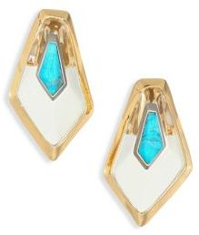 Alexis Bittar Lucite, White Quartz Crystal & Howlite Turquoise Doublet Floating Kite Clip Earrings $195 thestylecure.com