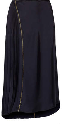 DKNY - Asymmetric Pleated Satin Midi Skirt - Midnight blue $235 thestylecure.com