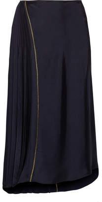 DKNY - Asymmetric Pleated Satin Midi Skirt - Midnight blue $220 thestylecure.com