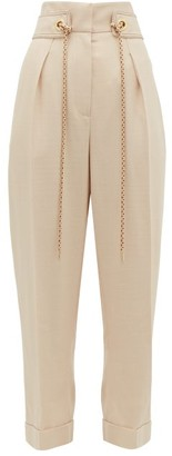 Peter Pilotto Cropped High Rise Tweed Trousers - Womens - Beige