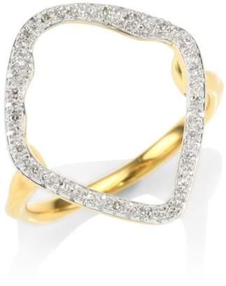 Monica Vinader Riva Pave Hoop Ring/Goldtone