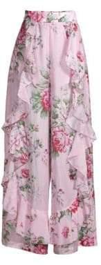 Alice McCall Secret Garden Ruffled Silk-Blend Wide-Leg Pants