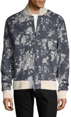 Floral-Print Cotton Bomber Jacket