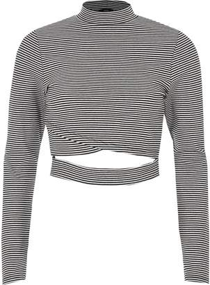 River Island Womens Black stripe wrap front long sleeve top