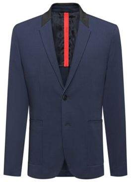 HUGO Boss Regular-fit jacket in technical fabric contrast collar 36R Dark Blue