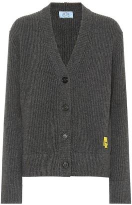 Prada Ribbed wool and cashmere cardigan