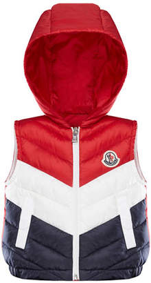 Moncler Tricolor Chevron Quilted Hooded Vest, Size 12M-3