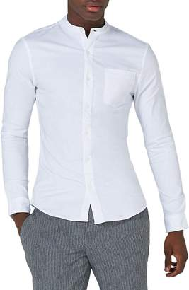 Topman Muscle Fit Band Collar Shirt