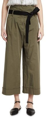 Brunello Cucinelli High-Waist Cropped Culottes, Olive $945 thestylecure.com