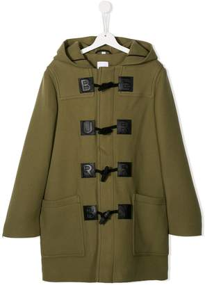 Burberry TEEN toggle-fastening hooded coat