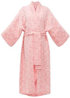 8f60227fc06e Rossell England - Geometric Jacquard Tie Waist Linen Robe - Womens - Pink