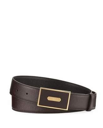 dunhill Cadogan Men's Grained Leather Belt, Brown/Black $295 thestylecure.com