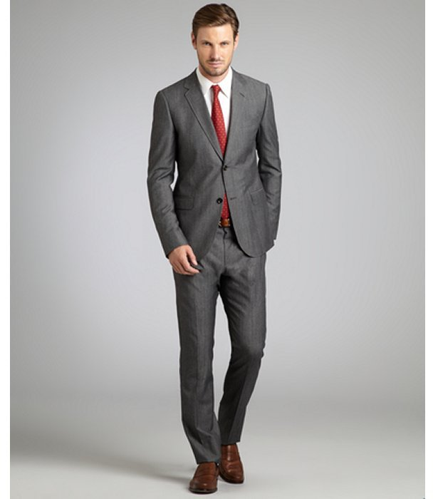 Gucci grey wool-cotton two-button suit with flat front pants