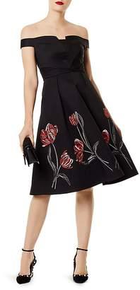 Karen Millen Embroidered Off-the-Shoulder Dress