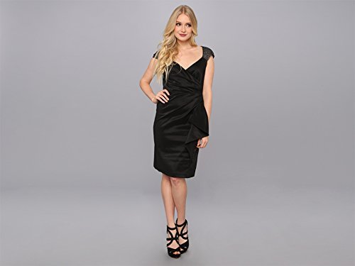 Maggy London Women's Lurex Baroque Mesh Dress with Embellished Cap Sleeve