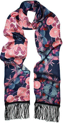 Texas And The Artichoke Cherry Punch Fringed Silk Skinny Scarf