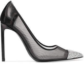Swarovski Crystal-embellished Leather And Mesh Pumps - Black