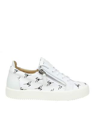 Giuseppe Zanotti Low-top Sneakers In Fabric With Black Logo Decoration