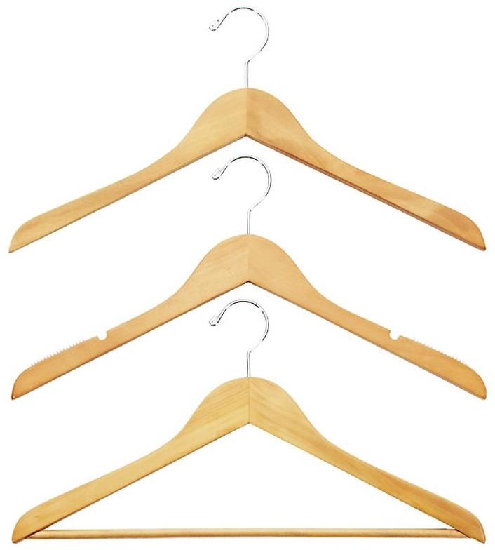 Container Store Case of 36 Basic Shirt Hangers with Bars Natural