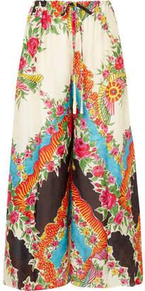 Gucci Floral-print Satin-jacquard Wide-leg Pants - Black