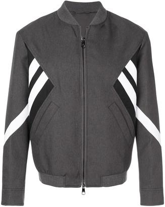Neil Barrett striped bomber jacket grey