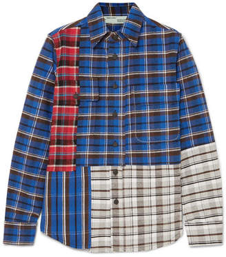 Off-White Printed Checked Cotton-blend Flannel Shirt - Blue