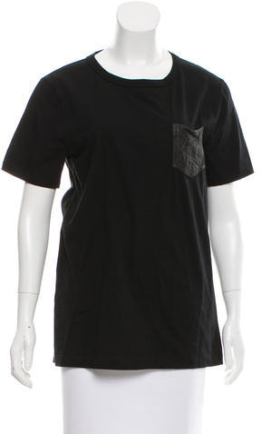 Alexander Wang T by Alexander Wang Leather-Accented Short Sleeve Top