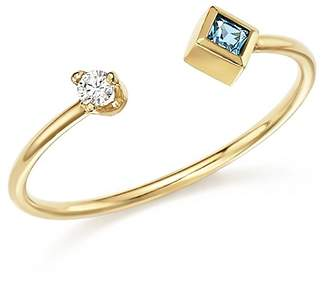 Chicco Zoë 14K Yellow Gold Stacking Ring with Diamond and Aquamarine - 100% Exclusive