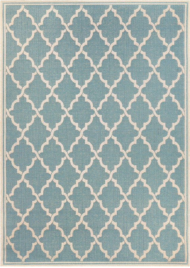 "Couristan Couristan Monaco Indoor/Outdoor Ocean Port Turquoise-Sand 2'3"" x 7'10"" Runner Area Rug"