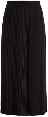 MM6 MAISON MARGIELA Knife-pleated wide-leg cropped cady trousers