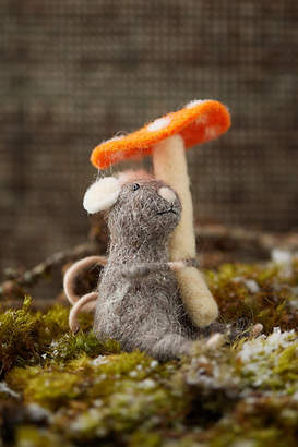 Anthropologie Felt Mouse and Mushroom Ornament