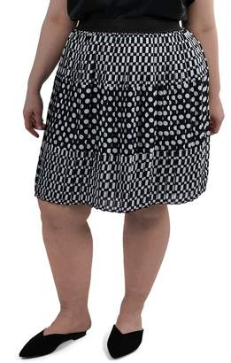 Maree Pour Toi Pattern Mix Pleated Skirt (Plus Size)
