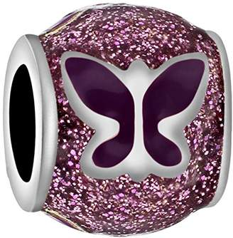 Tuscany Charms Sterling Silver Purple Enamel Butterfly Bead