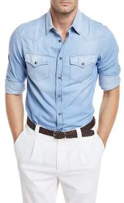 Brunello Cucinelli Lightweight Aged Denim Western Shirt