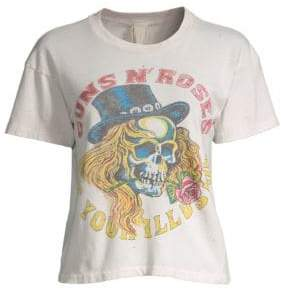 N. MadeWorn MadeWorn Women's Guns Roses Graphic T-Shirt - Off White - Size Large