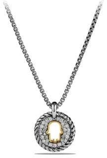 David Yurman Cable Collectibles Hamsa Charm Necklace with Diamonds and 18K Gold