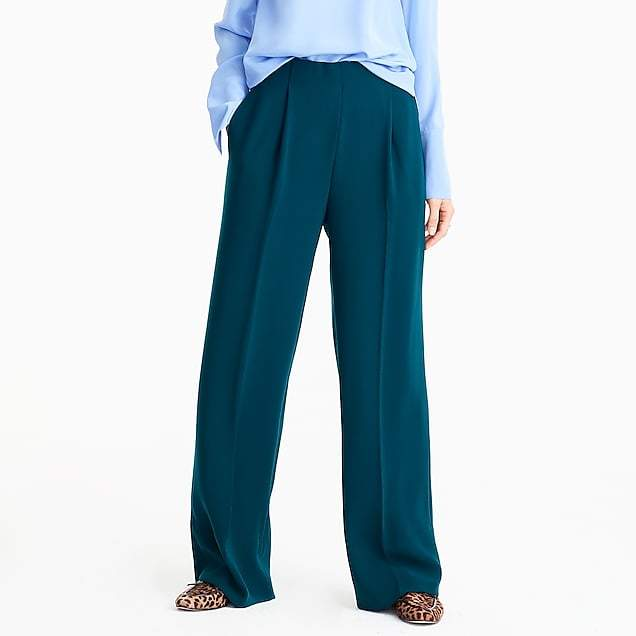 Wide leg pleated pant in matte crepe