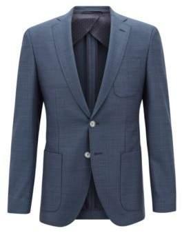 BOSS Hugo Extra-slim-fit virgin-wool jacket micro pattern 38R Open Blue