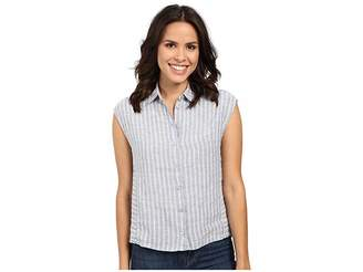 Mavi Jeans Linen Stripe Button Up Top Women's Clothing