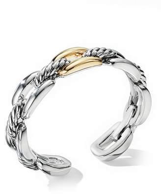 David Yurman Wellesley Link Single Stack Bracelet in Sterling Silver with 18K Yellow Gold