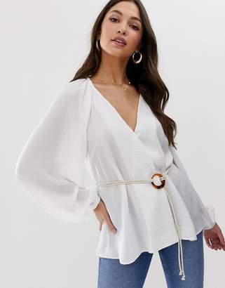 Asos Design DESIGN long sleeve wrap top with rope belt detail in linen