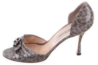 Manolo Blahnik Suede Printed Sandals
