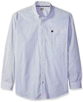 Cinch Men's Classic Fit Long Sleeve Button One Open Pocket Stripe Shirt