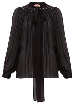 No.21 No. 21 - Studded Tie Neck Silk Chiffon Blouse - Womens - Black