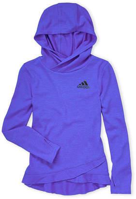 adidas Girls 4-6x) Blue Ruffle Trim Hooded Tee