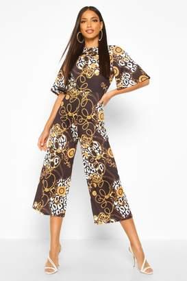 boohoo Mixed Chain Print Flared Sleeve Culotte Jumpsuit