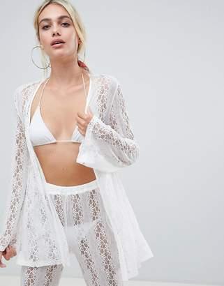 fd8a82dcca Asos Design DESIGN crochet lace beach co-ord kimono top in white